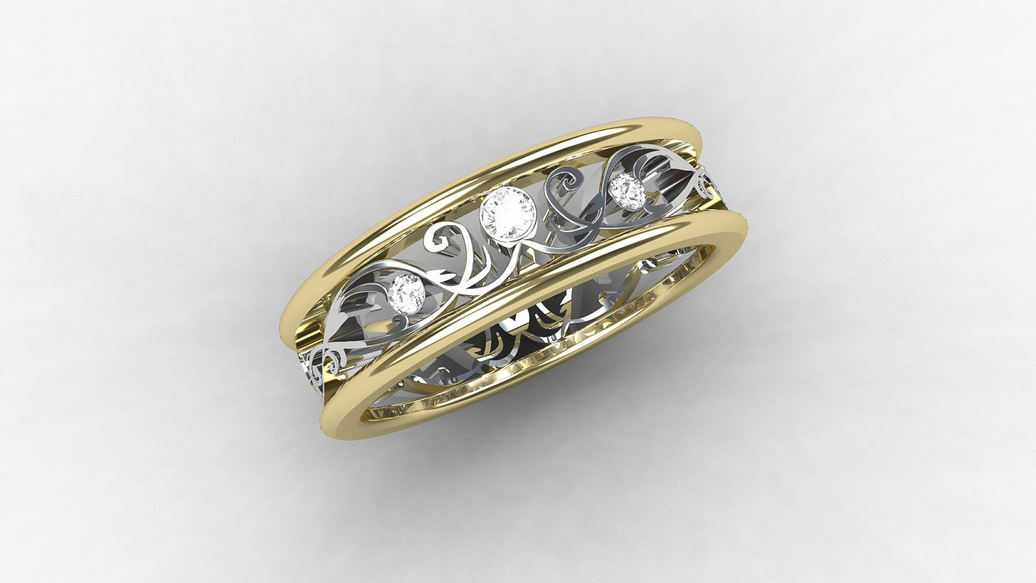 yellow attachment viewing ring mens him throughout for men goldwhite gallery white gold photo tone s photos of two wedding bands rings
