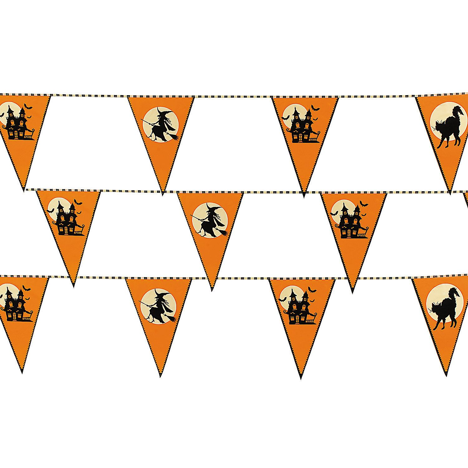Halloween Silhouette Plastic Pennant Banner Halloween silhouettes