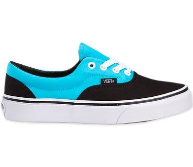 Blue and Black Vans Shoes | Vans Era Kids Shoes (Black/Blue Atoll ...