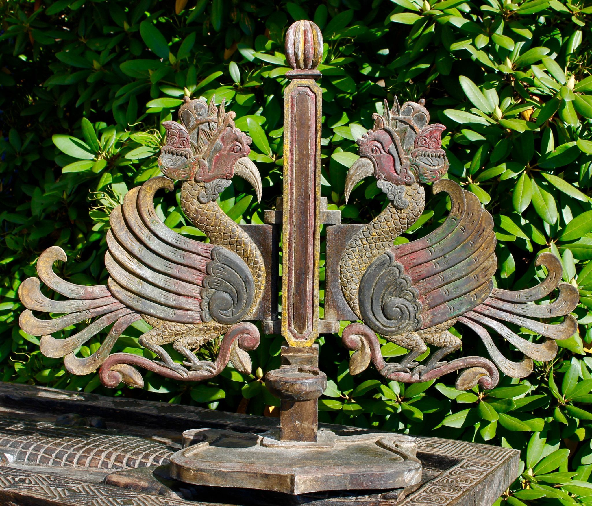 Old Garuda Candelabra from Java Indonesia, carved from