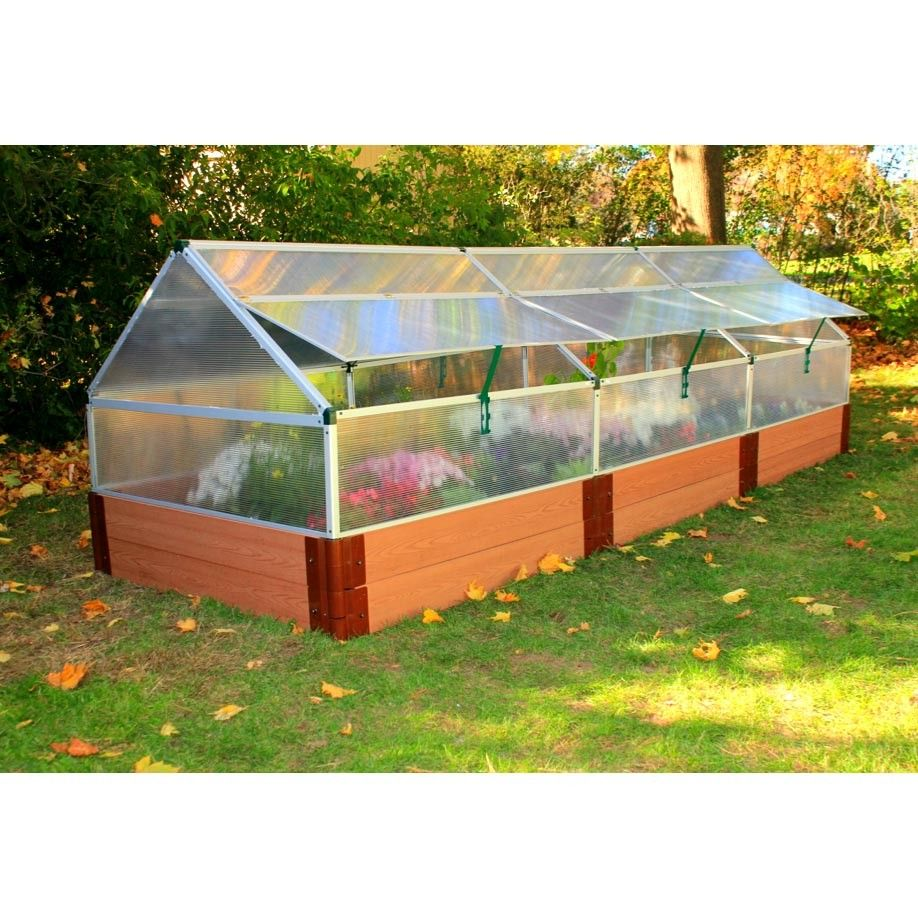 "4' x 12' Polycarbonate Greenhouse with 12"" tall Composite"