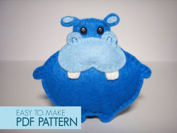 Easy to sew felt PDF pattern. DIY Pippo the Hippo finger