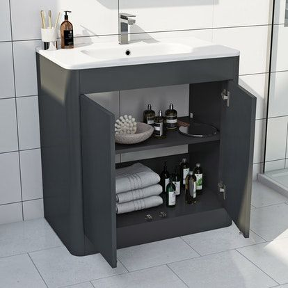 Mode Carter Slate Gloss Grey Floorstanding Vanity Unit And Ceramic
