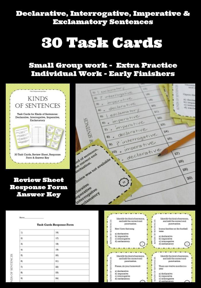Sentences declarative imperative interrogative exclamatory task declarative interrogative imperative and exclamatory sentence task cards ccuart Gallery