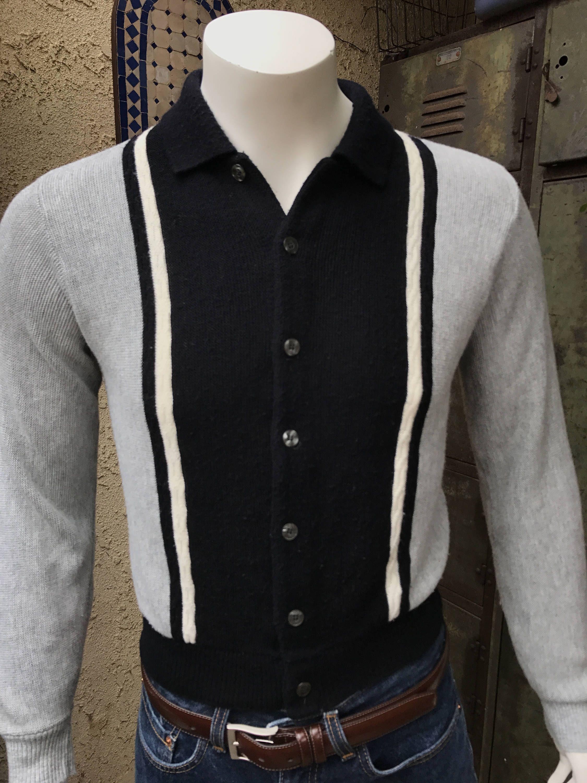 2de774c3f4e 60 s Puritan Impaca Two Tone Cardigan Size M  Puritan Men s Knit Orlon  Acrylic Sweater  Retro Hip Sweater Made in the USA by SantaBarbaraShop on  Etsy