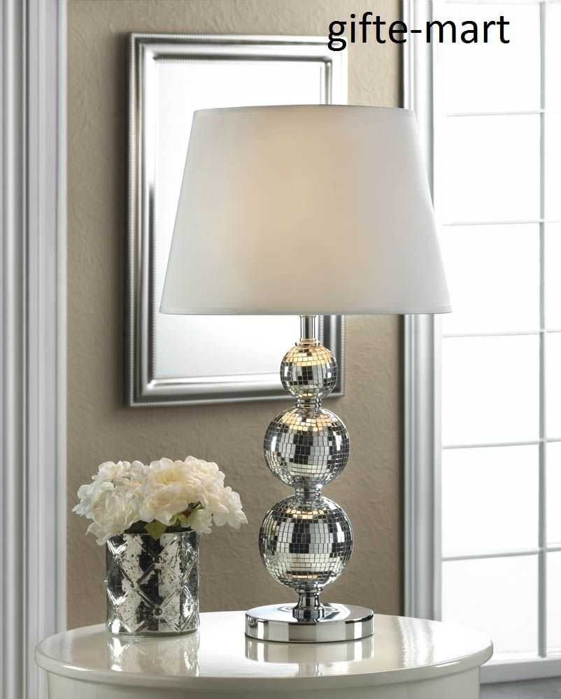 Silver Stacked Glass Retro 70 S Disco Ball Mirror Bedside End Table Lamp Shade Mirror Table Lamp Lamp Table Lamp Shades