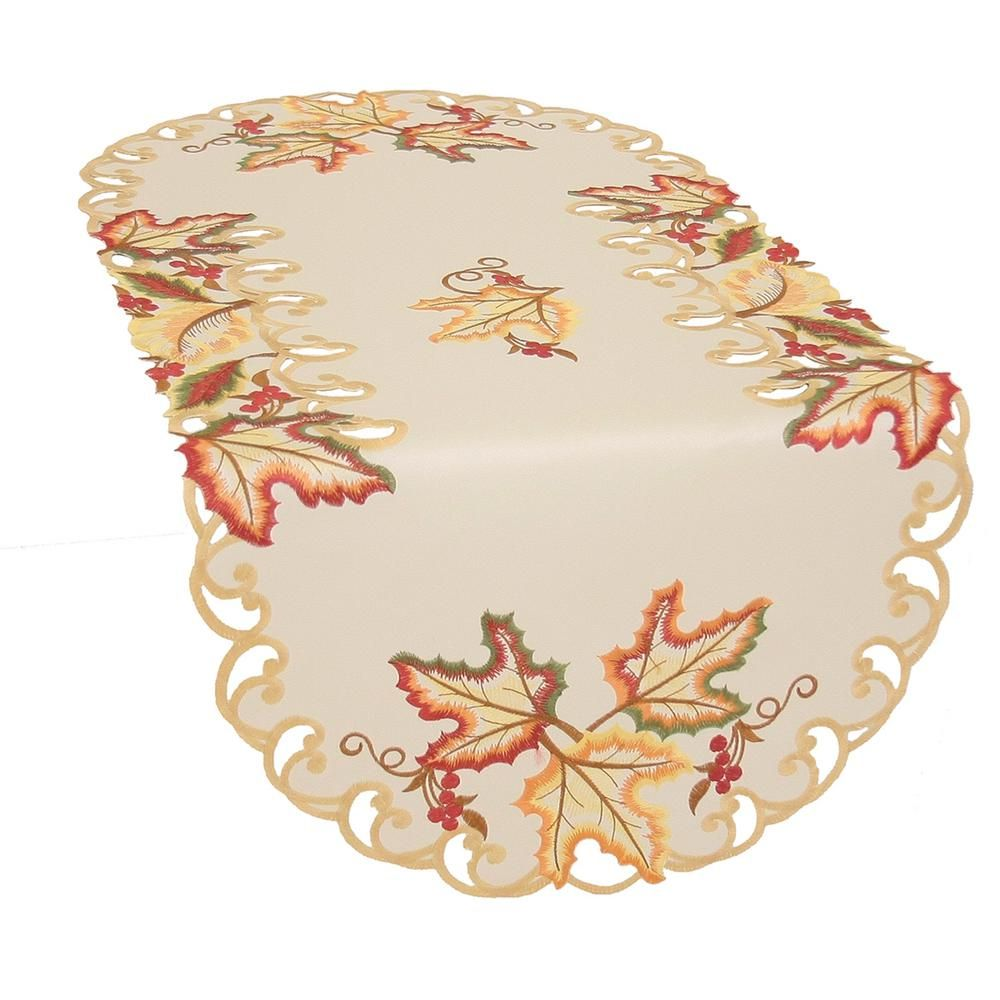 Simhomsen Thanksgiving Holiday Table Runners Embroidered Maple Tree Leaves 13 /× 68 inch