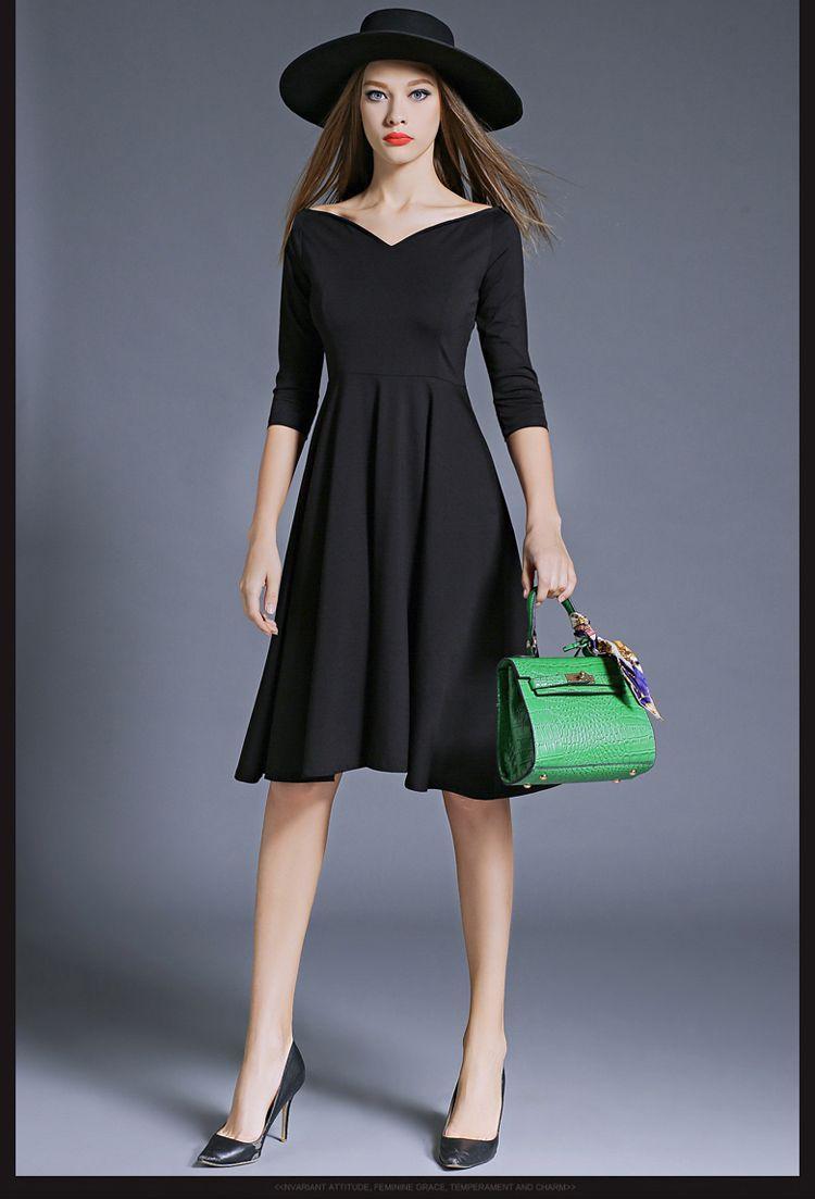 Elegant vneck little black dress midi dress with