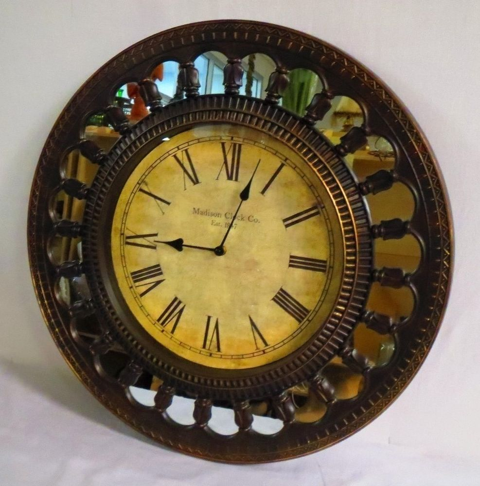 Antiqued Madison Clock Company Mirrored Round Wall Clock