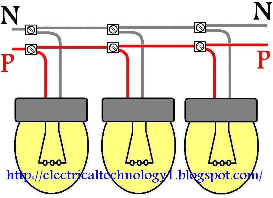 how to wire lights in parallel? electrical technology lighting Wiring Can Lights in Parallel how to wire lights in parallel? parallel wiring for lighting circuits these all lamps are connected in parallel each lamp or bulb is connected between line