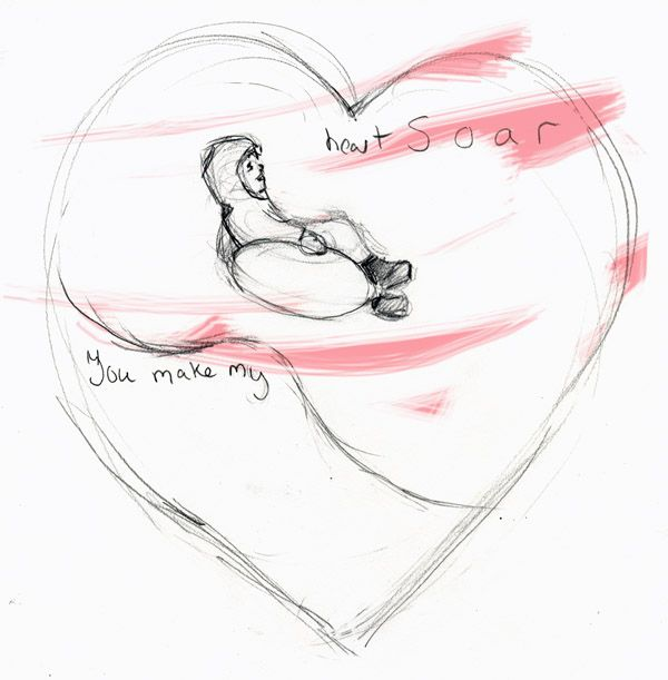 You Make My Heart Soar Valentine pencil on paper inked in computer  2012 Brenna George