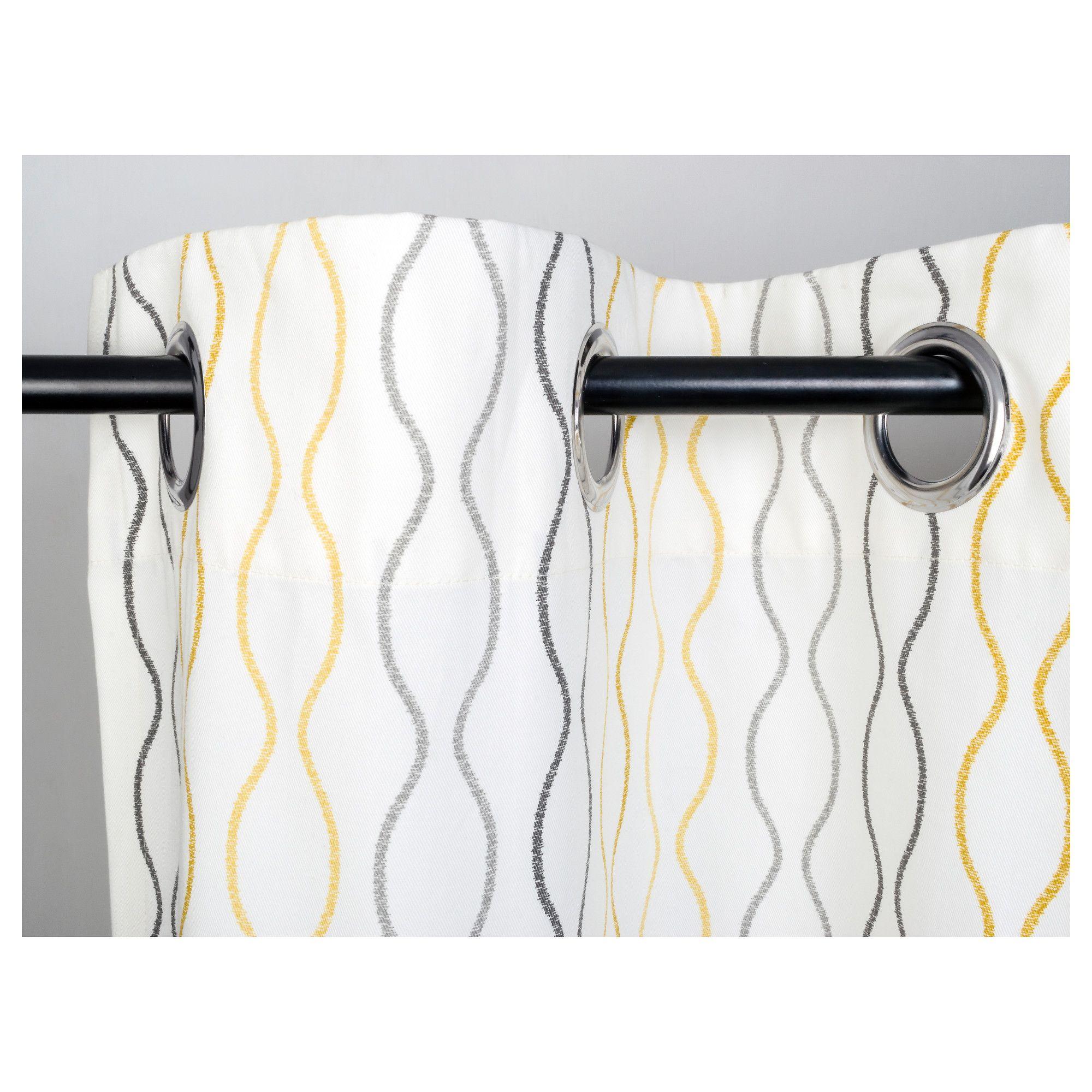 Henny Rand Curtains 1 Pair White Gray Yellow 57x98 145x250