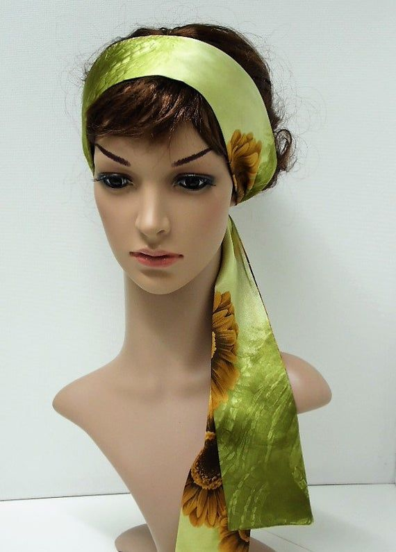 Satin head scarf for women, vintage style headband, elegant hair tie, satin headband, self tie heads #headscarfstyles