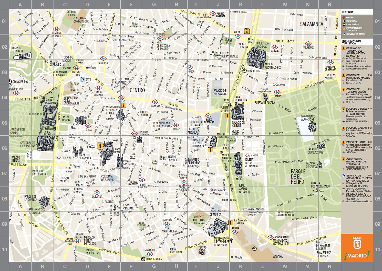 Mapa Centro De Madrid.Mapa Turistico De Madrid Pincha Para Verlo Ampliado