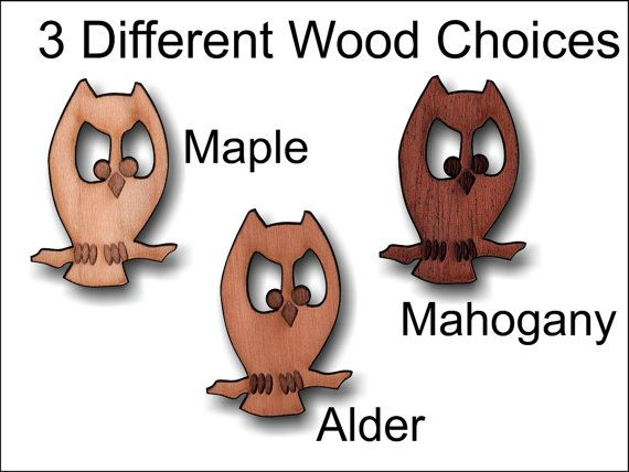 Decorative wooden owl charm 1.5 inches tall by SandHonEtsy on Etsy, $9.87