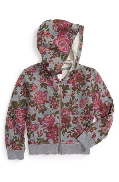 Tea Collection 'Rosa' Graphic Full Zip Hoodie (Toddler Girls, Little Girls & Big Girls)
