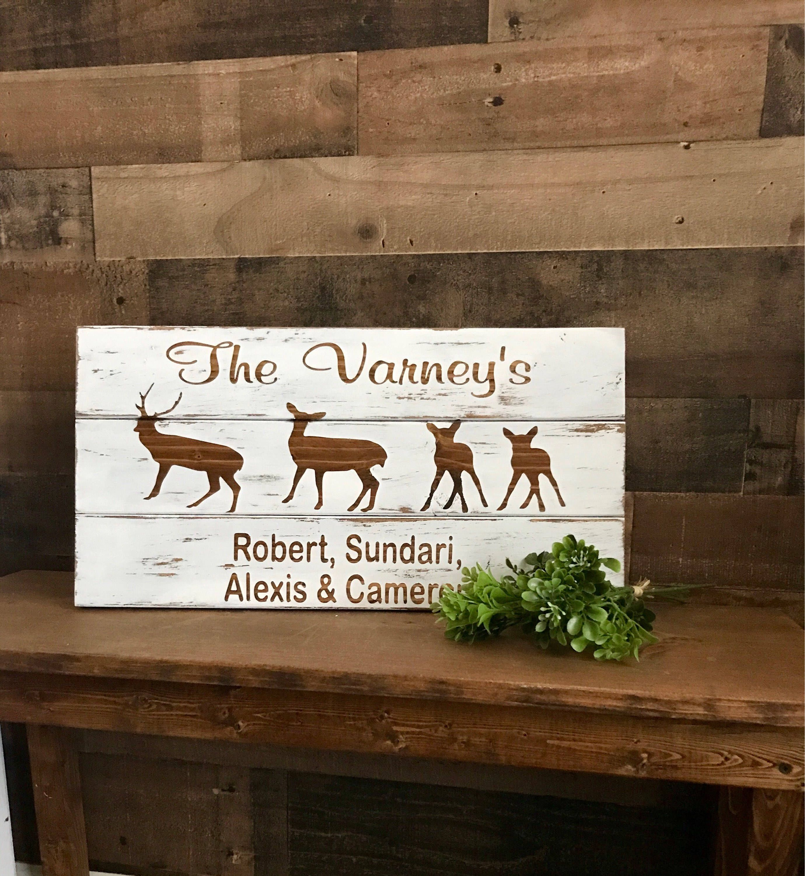 Personalized Christmas Gift For Family Deer Sign Wall Decor Etsy Custom Wooden Signs Custom Family Signs Custom Wood Signs