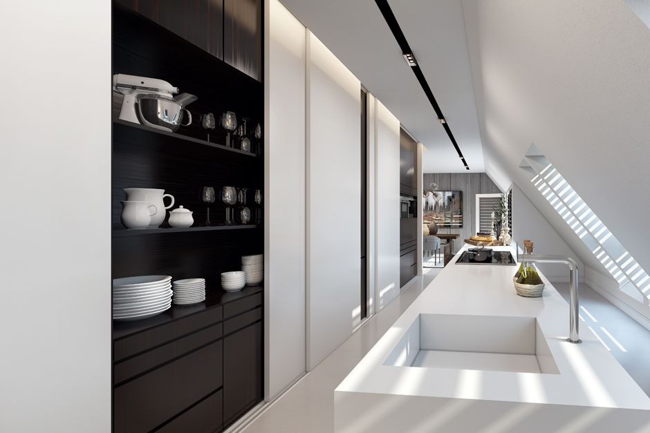 Hidden Kitchen Design Apartment In Dusseldorfando Studio  Penthouses Hidden Pantry