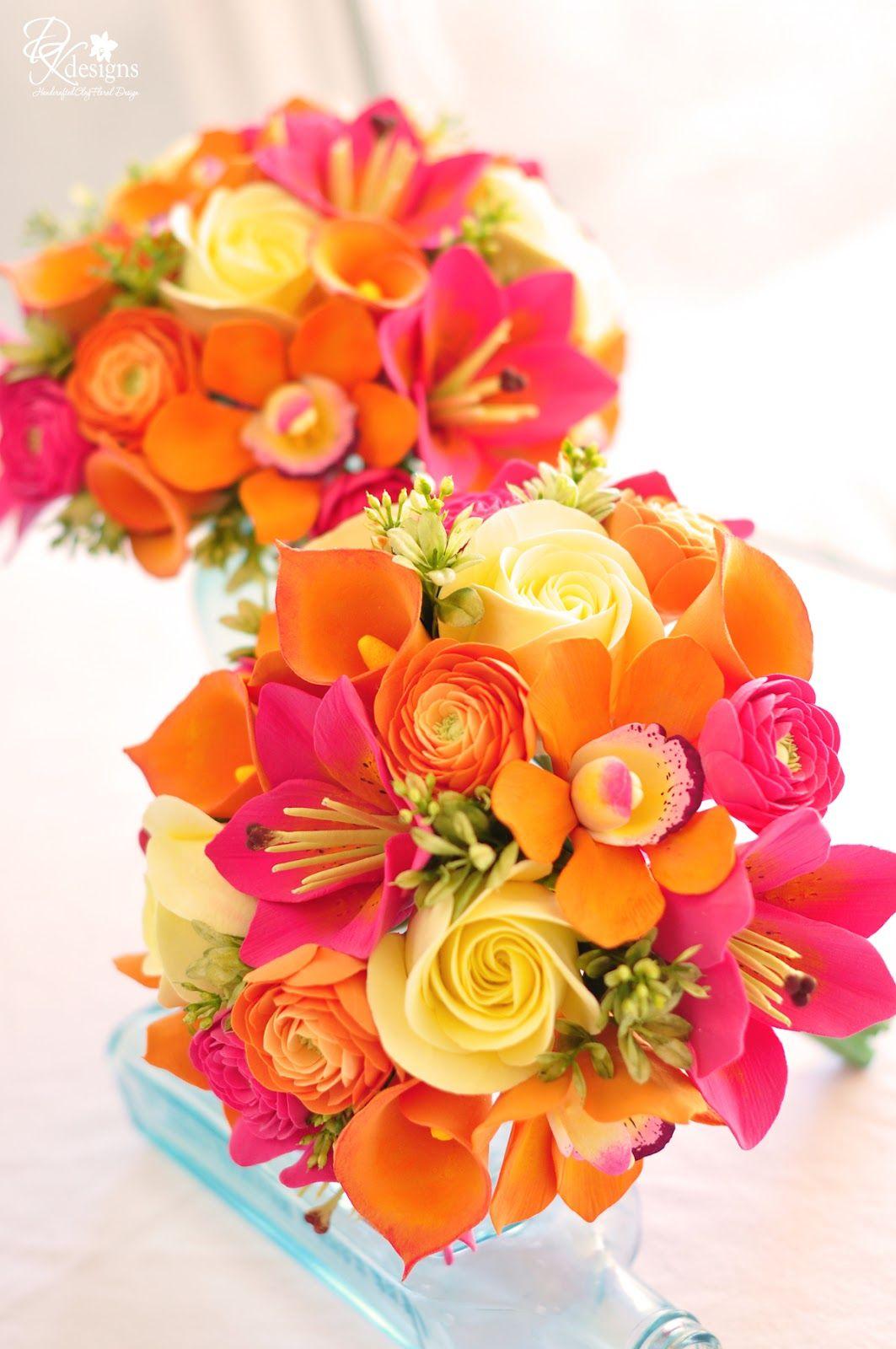 Dk designs tropical bridesmaid bouquets oranges pinks and gumpaste flower bouquet love the bright colours izmirmasajfo