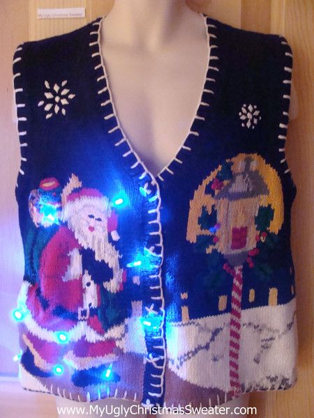Light Up Ugly Xmas Sweater Vest Santa in Winter | Ugly xmas ...