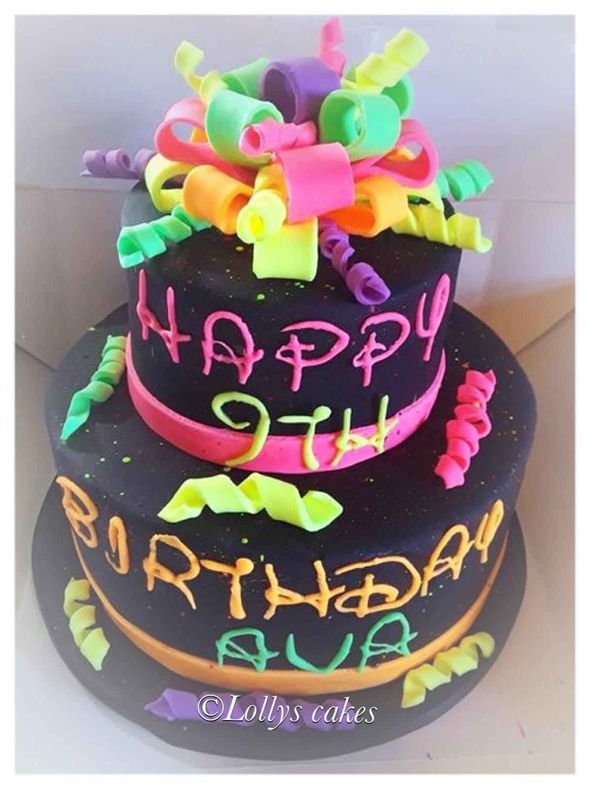 Neon 2 Tiered Disco Birthday Cake Glows In The Dark Birthday