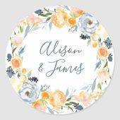 Rustic Peach Peony Floral Wreath Wedding Classic Round Sticker