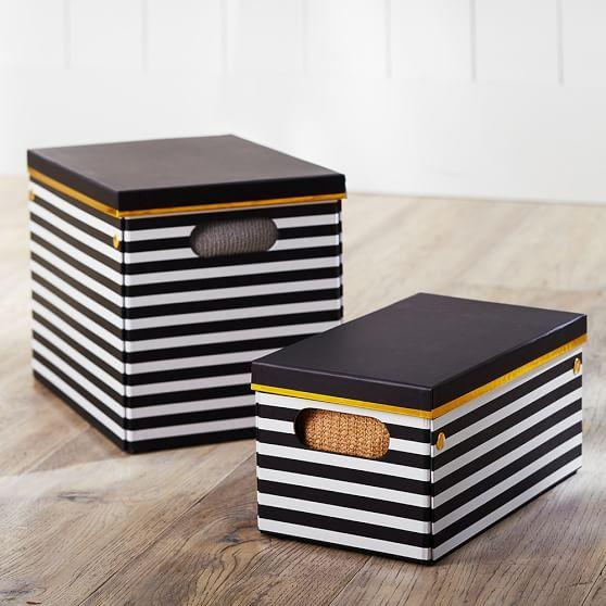 Black White Stripe Printed Storage Bins Pbteen 20 For Small Bin