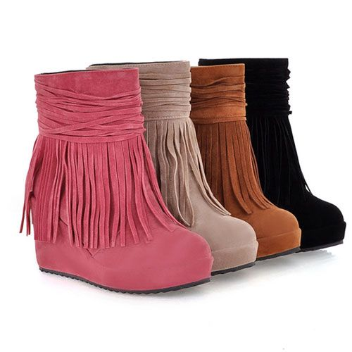 Style: European Style/ Chic  Heat: Fringe/ Pure Color  Color: Black/Red/Yellow/Beige  Material: PU  Size: US 5/US 5.5/US 6/ US 7/US 7.5/US 8...