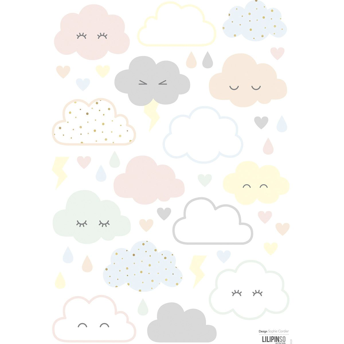 stickers nuages pastels lilipinso and co d co chambre b b pinterest. Black Bedroom Furniture Sets. Home Design Ideas
