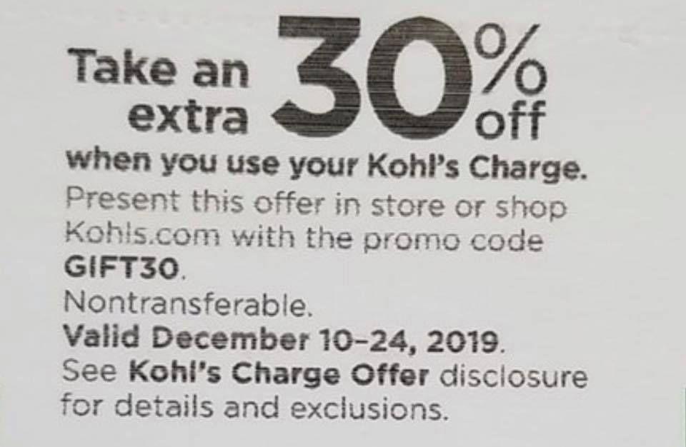 Kohls 30 Off Coupon Code December 2019 Kohls Coupons Coding Kohls