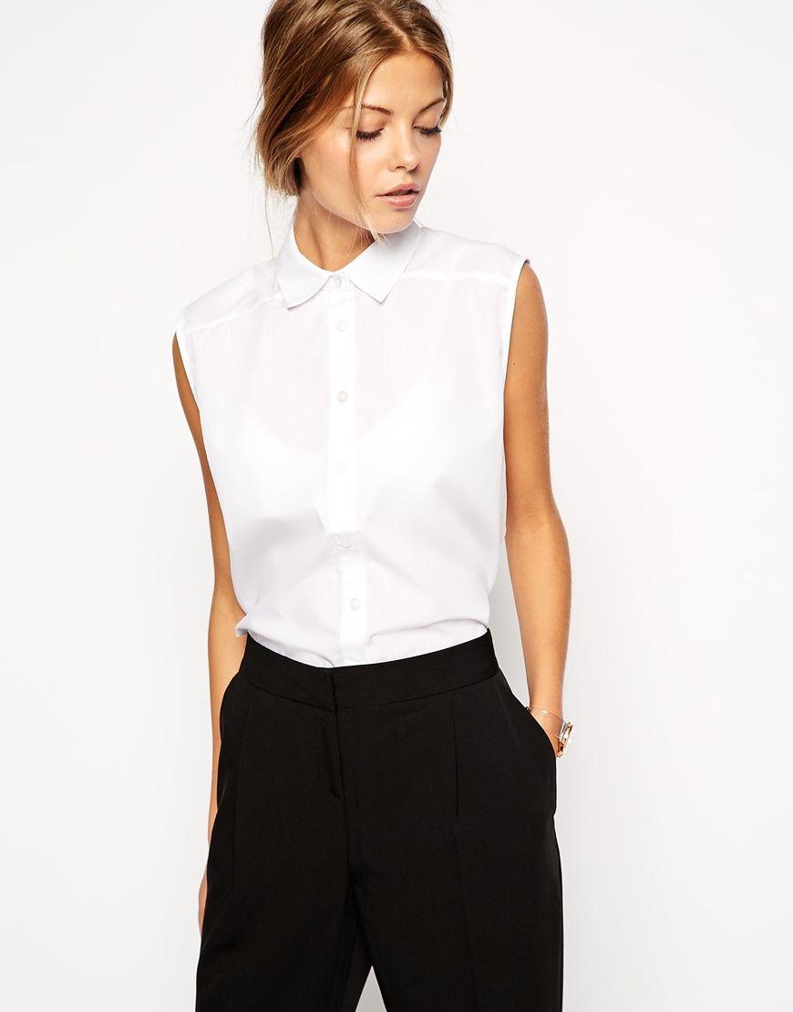 Womens Sleeveless White Collared Shirt Bcd Tofu House