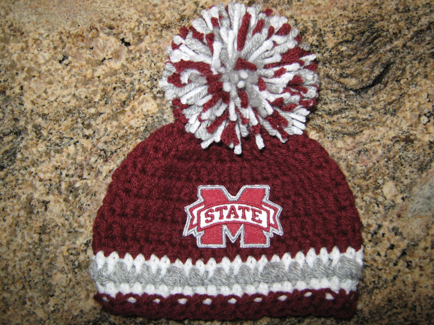 892ce8474 Crochet Beanie Baby Hat (Mississippi State) Embroidered Logo ...