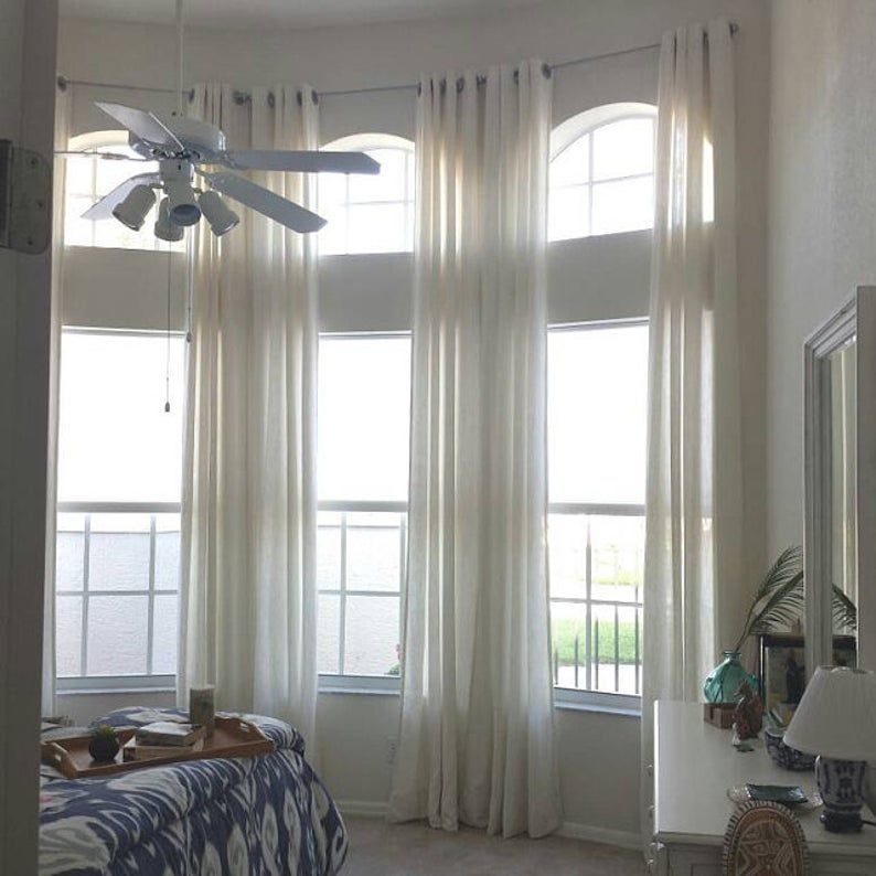 Extra Long Natural Linen Curtains Drapes Custom Made 10 12 13 Etsy In 2020 Linen Curtains Window Treatments Living Room Long Curtains Living Room