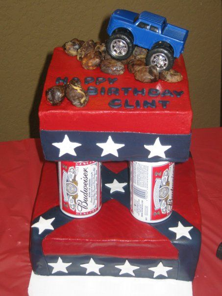 Sweet Ts Cake Design Confederate Flag Budweiser Beer Can Columns 4 Wheel Drive Pick Up Birthday