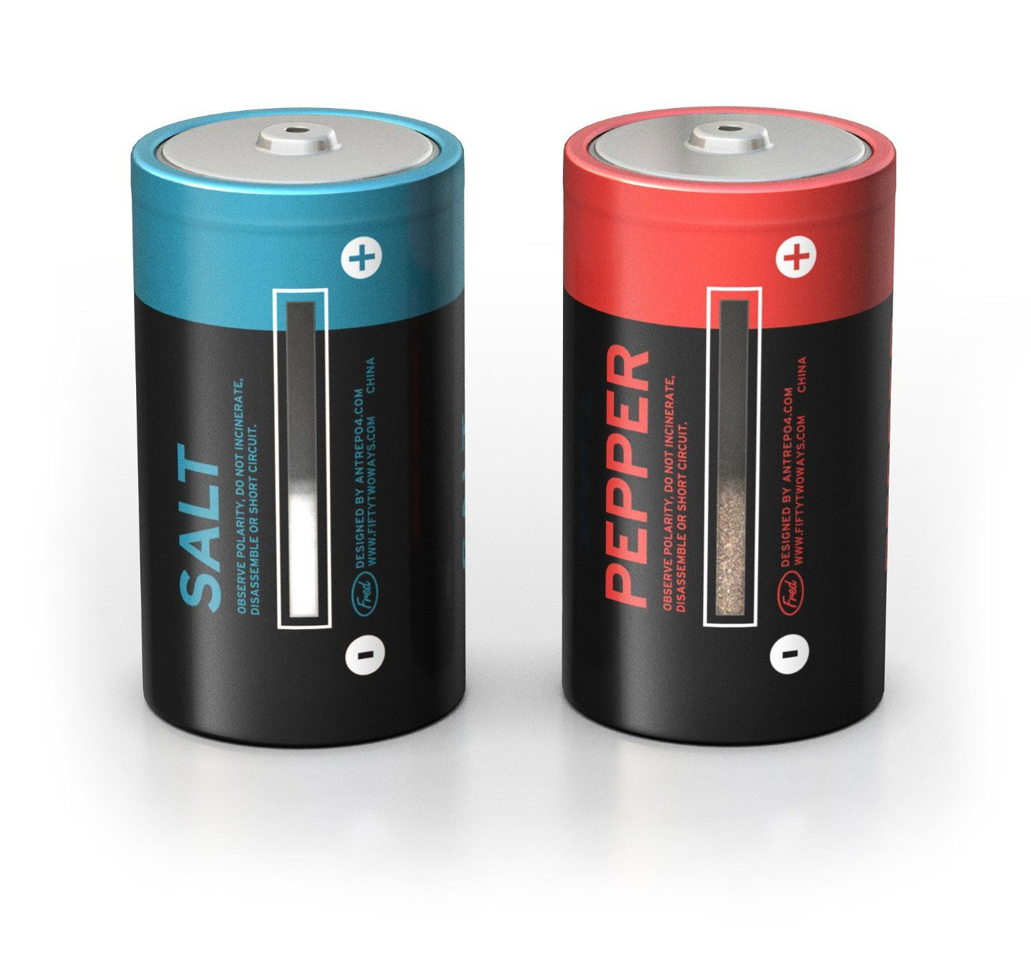 Salt and Pepper shakers made to look like batteries See through on