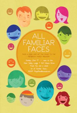 All Familiar Faces   Printable Family Reunion Invitation Template
