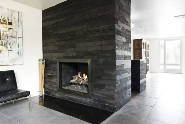 Fireplace Grey Stone Contemporary Modern Mid Century Modern