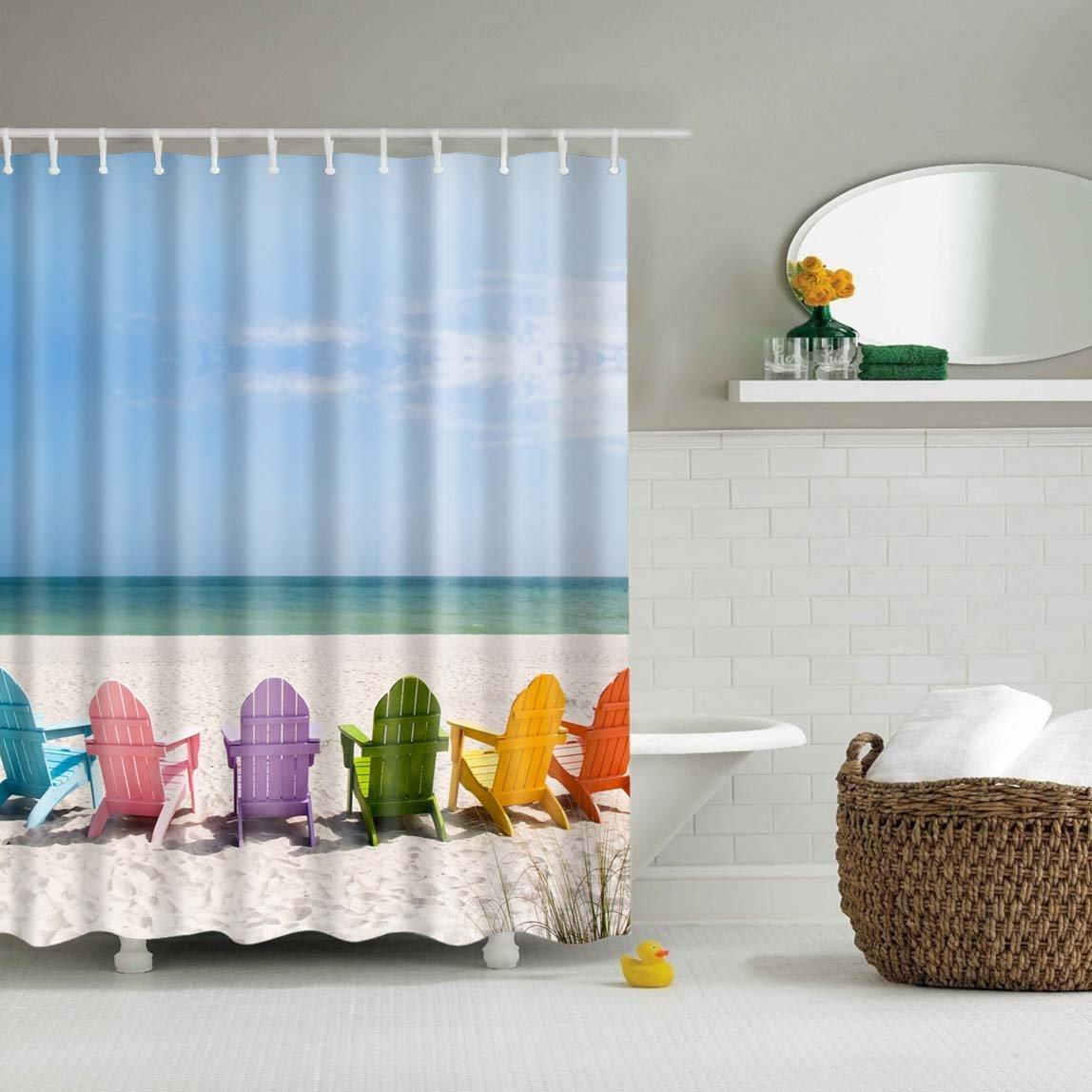 Summer Seashells Beach Shower Curtain Set Fabric Bathroom Curtains 180*180cm