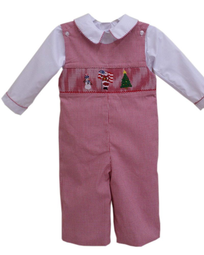 4a140b3bb4c7 Baby Boys Longalls with Smocked Santa Claus, Snowman and Christmas Trees - Carousel  Wear