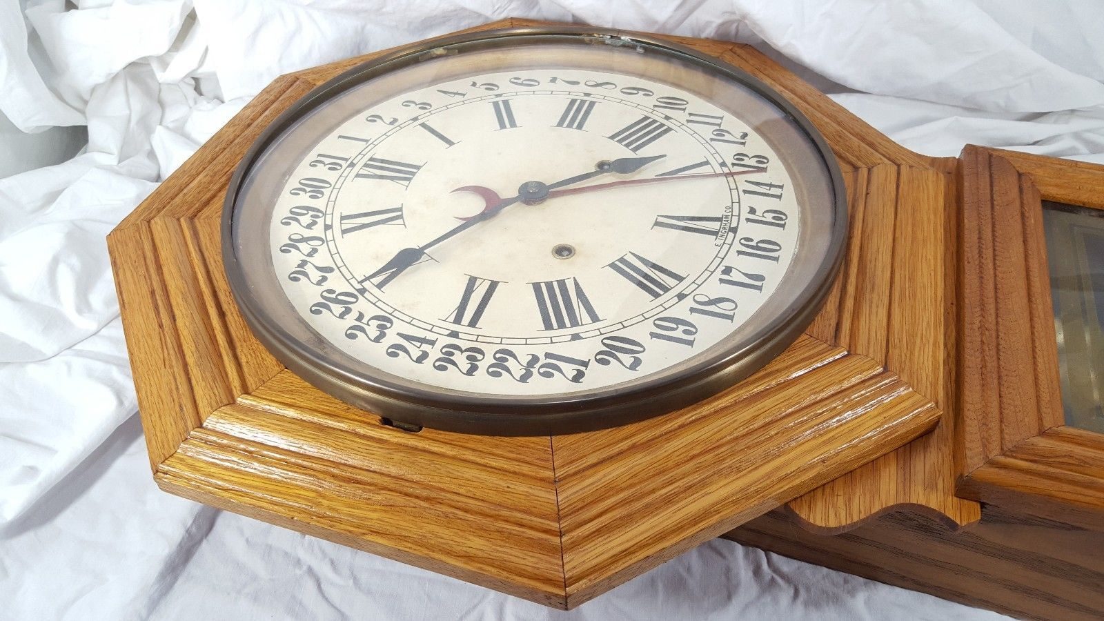 Calendar Clock Wallpaper : 1900s e ingraham dew drop calendar wall clock antique roman numerals