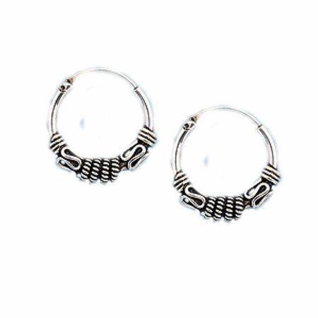 Sterling Silver Bali Hoop Earrings For Men Or Women Silver Jewelry