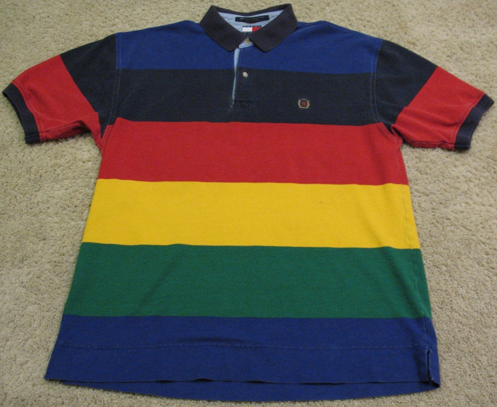 99fb75803b4 Vintage 90s Tommy Hilfiger Rainbow Polo Shirt Blue Red Yellow Green ...