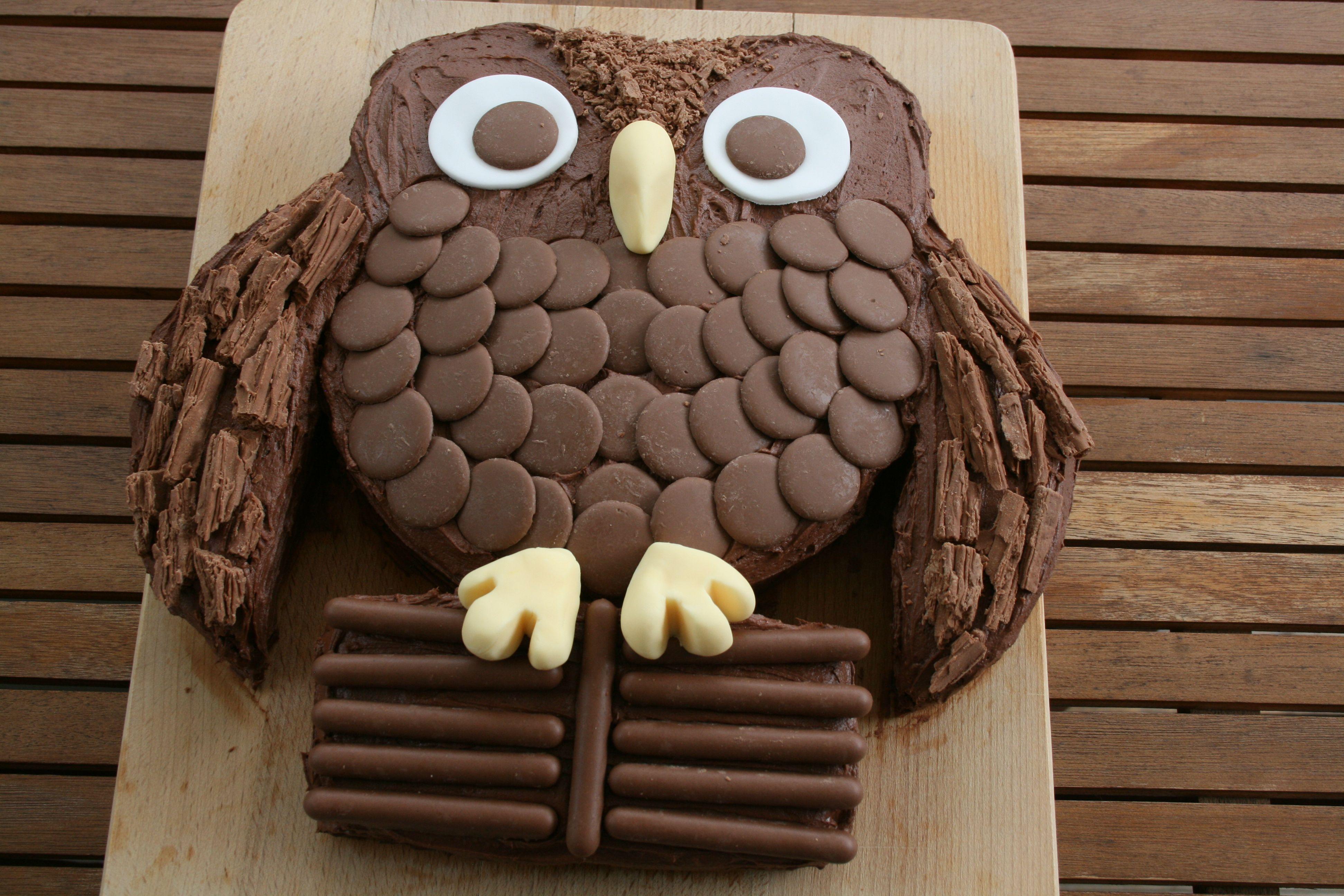 Chocolate Owl Cake Chocolate cake with chocolate buttercream