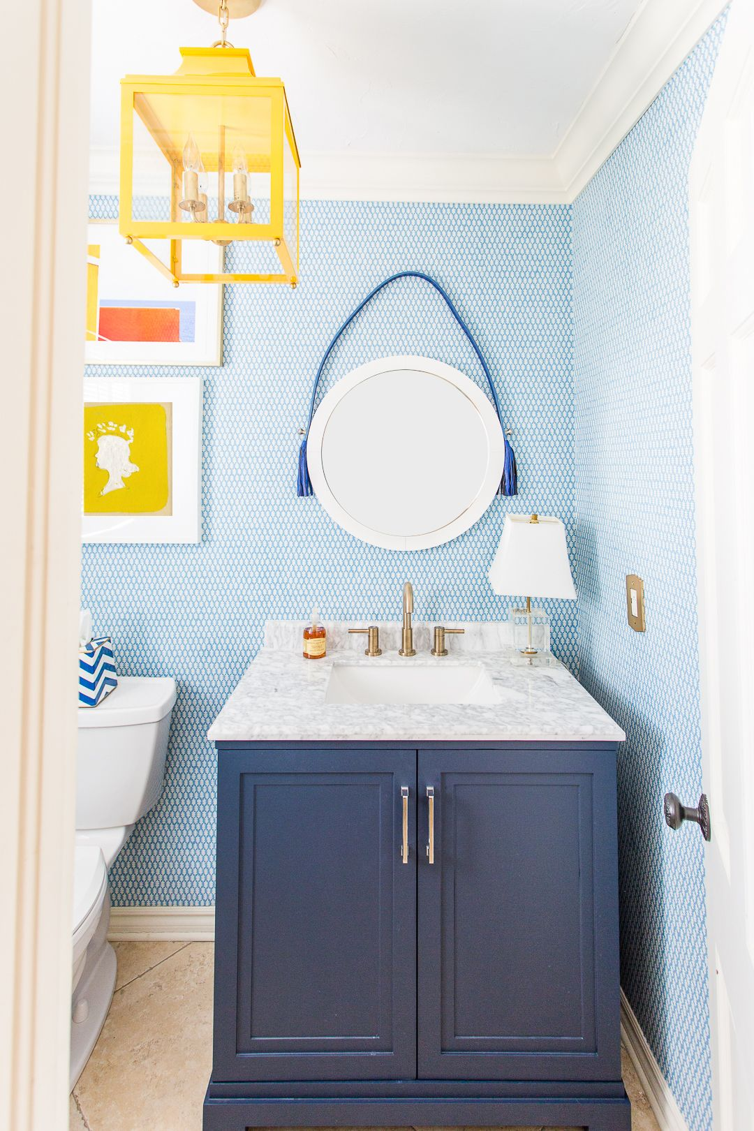 Powder Bathroom Reveal Pencil Shavings Studio Trendy Bathroom Bathroom Wallpaper Blue Vanity