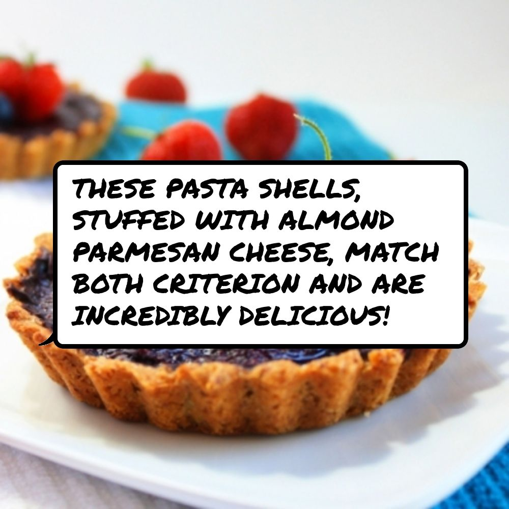 #These pasta #shells, stuffed with #almond parmesan #cheese, match both #criterion and are #incredibly delicious!