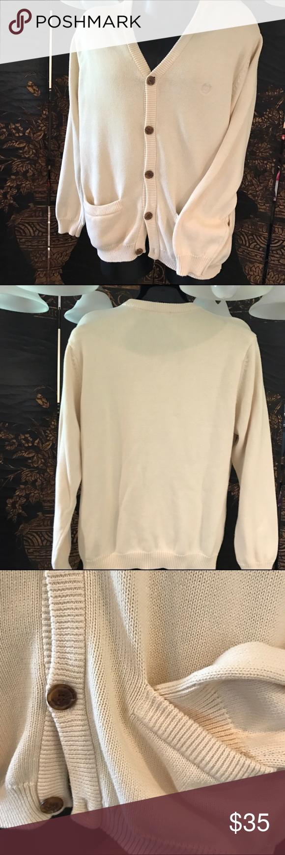 Men's Chap's knit sweater cream medium pockets Good condition ...
