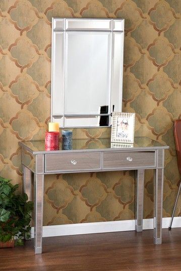 Silver Mirage Mirrored 2 Drawer Wood Console Table Mirrored