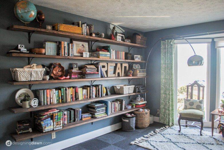 Dawn S House Diy Library Shelving Bookshelves Diy Wall