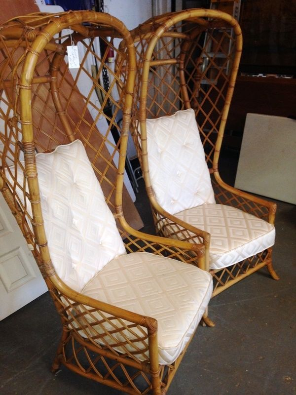 Perfect Pair Mid Century Hollywood Regency Rattan Bentwod Italian Florida Canopy  Chairs