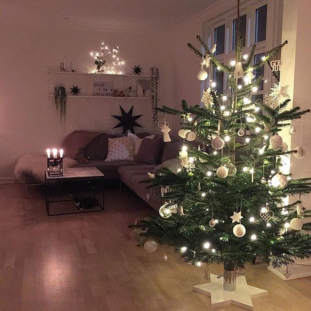 """Godaften😚✨🎄 Iiiih så skønt at træet endelig står pyntet! Har godt nok """"slåsset"""" rundt med det et stykke tid, for det blev ved med at stå super skævt🙈 men nu er det vidst fint, i hvert fald fra denne vinkel🎄😄🎄 Håber i har haft en dejlig dag, og ønsker jeg en god aften😚✨🌟❤️️ #kählerxmas2016  #juleinspo16 @hanneromhavaas  #waspsliving_jul"""
